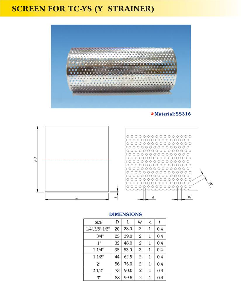 Stainless Steel Screen For Tc Ys Y Strainer